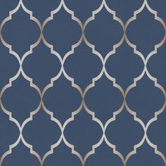 This Fretwork Geometric Wallpaper in Midnight Blue features a geometric trellis pattern in metallic silver set on a soft textured midnight blue background. Blue Geometric Wallpaper, Silver Wallpaper, Wall Wallpaper, Pattern Wallpaper, Art Nouveau Wallpaper, Bedroom Wallpaper, Blue Accent Walls, Accent Walls In Living Room, Living Room Colors