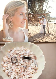 Hawaii Wedding... I love the natural textures with the stones and branches