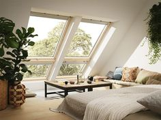 Loft Conversion inspiration to the max. This Living Room features Velux Cabrio balcony windows. When open they create a small balcony area giving you more head height and creating a feeling of space and a connection to the outside. Attic Master Bedroom, Attic Bedroom Designs, Attic Bedrooms, Bedroom Loft, Attic Bathroom, Attic Design, Loft Design, Bedroom Storage, Bedroom Ideas
