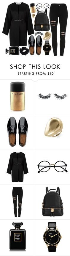 """GOLD&BLACK"" by strayalley ❤ liked on Polyvore featuring MAC Cosmetics, Napoleon Perdis, FitFlop, Alexis Bittar, Valentino, Retrò, Michael Kors, Chanel, Marc by Marc Jacobs and American Apparel"