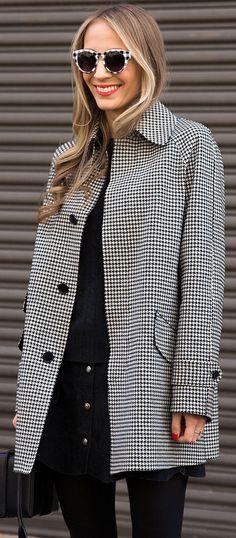 NYFW street style: Harley Viera Newton in a checkered coat