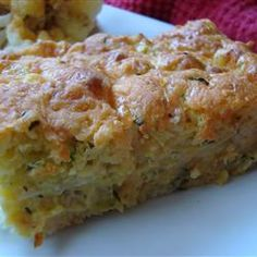 "Zucchini Cornbread Casserole Oh my goodness this was SO good! My 13 year old stepdaughter proclaimed she could eat the whole thing herself. I did not drain the shredded zucchini as others did and did not find it to ""wet"" To me it was perfect. Cornbread Casserole, Casserole Dishes, Casserole Recipes, Cornbread Mix, Cornbread Recipes, Cornbread Dressing, Zucchini Cornbread, Zucchini Casserole, Zucchini Bread"