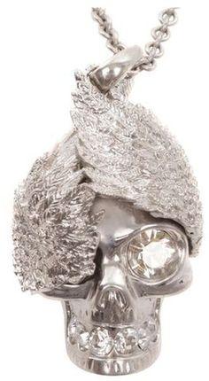 Alexander McQueen Necklace | Alexander Mcqueen Silver Wings Skull Pendant in Silver - Lyst