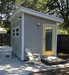 put all windows on the side for a greenhouse - 8x12 modern shed finished love the gray and yellow combo!