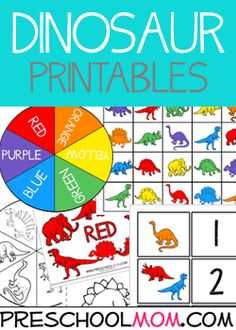 Dinosaur Printables - Children love dinosaurs!  We recently picked up a set of Dinosaur counters, and they are a fantastic tool for any preschool classroom.   Counters can be used for counting, patterns, colors, and sorting and classifying.   We've designed quite a few printables and resources you can use to create a variety of learning centers in your classroom. Free File Folder Games