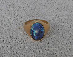 10K Gold Filled Azurite Ring Mans Mens Unisex Size 8.5