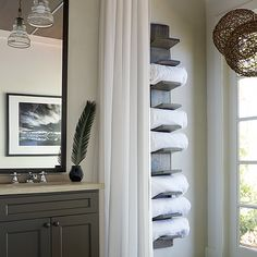 Lake House Bathroom with Vertical Towel rack, Cottage, Bathroom