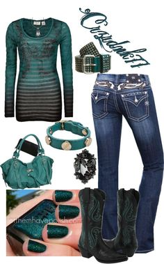 """""""Black And Teal"""" by crzrdnk77 on Polyvore"""