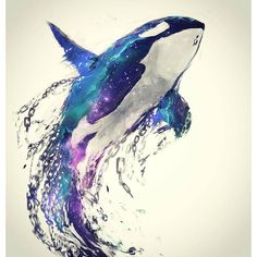 Diamond Painting Orca Water Color Kit - Diamond Painting Orca Water Color Kit Offered by Bonanza Marketplace. Orca Tattoo, Whale Tattoos, Tattoo Animal, Arte Orca, Orca Art, Art Aquarelle, Watercolor Paintings, Watercolor Whale, Watercolors