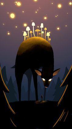 art, illustration, animal, deer, night, stars, lighting, mushroom, tree, woodland, fantasy, // Diana Huh
