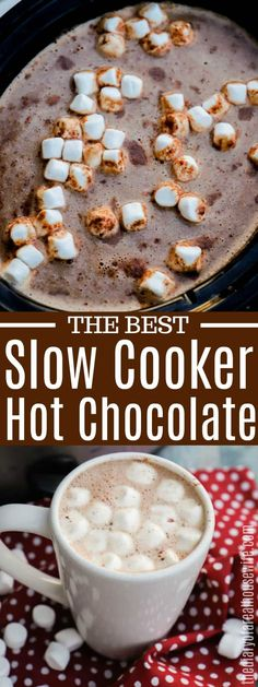 This Slow Cooker Hot Chocolate is simple to make and taste amazing. With just 5 easy ingredients and a few hours in the slow cooker you can serve up a creamy and delicious homemade hot chocolate. Slow Cooker Hot Chocolate Recipe, Hot Chocolate Recipe Easy, Homemade Hot Chocolate, Hot Chocolate Bars, Crockpot Hot Cocoa Recipe, Chocolate Liquor, Chocolate Chips, Best Slow Cooker, Slow Cooker Recipes