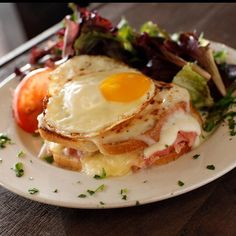 Start your morning off with a delicious Croque Madame a food-gasm w every bite. Bring your pups and enjoy our cool misted patio and $5 organic house wines all day today xo #EatLocal #GhinisFrenchCaffe