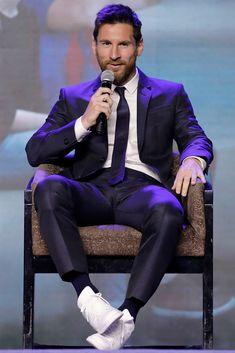 FC Barcelona's striker Lionel Messi speaks during a news conference...