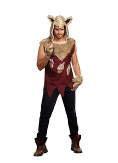 Big Bad Wolf Costume - Includes faux fur hooded tunic and faux fur fingerless…