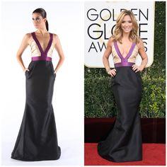 Debbie Matenopoulos wearing NIKOLAKI color-blocked Silk Zibeline Gown at 2017 Golden Globe Awards