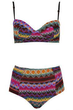 Multicolour Embroidered Aztec Bikini