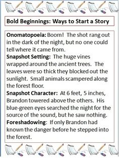 Some helpful tips for how to begin your story