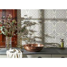 Pentillie Light Grey on Chalk Porcelain Tile