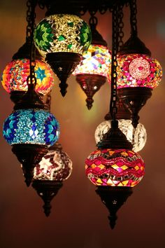 Multicolour Turkish Moroccan Style Mosaic Hanging Lamp Hand Made Brass 01-07