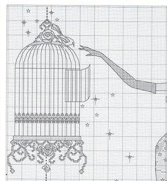 0 point de croix femme elegante robe à plumes cage à oiseaux - cross stitch birdcage elegant lady in red feather dress 2