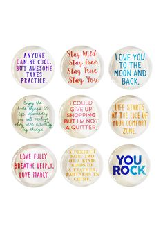 Colorful Fun Quote Superstrong Glass Magnet Set