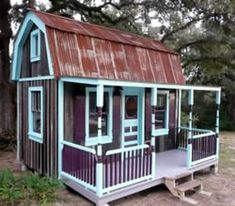Buy a barn style shed. Ask for customization of side door instead of front door, and build a porch on the side. OMG- THIS IS SO SO PERFECT!!!!!!! YAY!