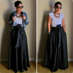 Boho Royal, I love the class of the full dark maxi and the casualness of the shirt and jacket. The glasses make it cool :-)