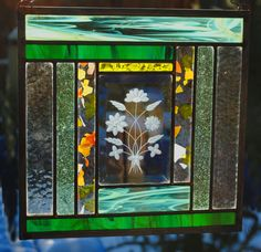 Louise-Annette Marcotty Stained Glass beveled glass antique restored daisies by stainedglassfusion on Etsy https://www.etsy.com/listing/238068938/louise-annette-marcotty-stained-glass