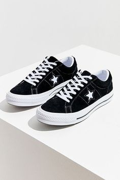 Suede iteration of the iconic One Star sneaker from Converse. Low-top in a textured suede with perforated detailing + cutout star logo at sides. Galaxy Converse, Moda Converse, Converse Star, Converse Shoes, Grunge Style, Soft Grunge, Style Converse, Outfits With Converse, Doc Martins