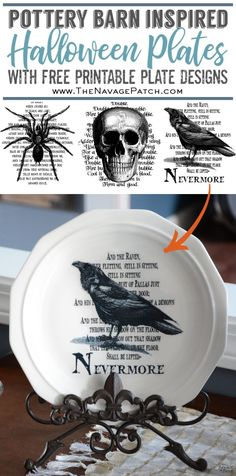 Learn how to make your own Pottery Barn Inspired Halloween Plates with our free (and creepy) printables. Holidays Halloween, Halloween Crafts, Halloween Decorations, Halloween Makeup, Pottery Barn Halloween, Diy Halloween Home Decor, Halloween Candles, Halloween Parties, Halloween 2018