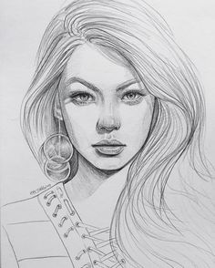 Uplifting Learn To Draw Faces Ideas. Incredible Learn To Draw Faces Ideas. Portrait Sketches, Pencil Portrait, Drawing Sketches, Drawing Tips, How To Draw Hair, Learn To Draw, Realistic Drawings, Cool Drawings, Girl Face Drawing