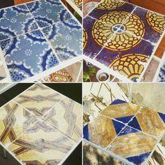 Tavolino di ferro con piastrelle di maioliche napoletane primi dell 800 originali e uniche. 40x40x85