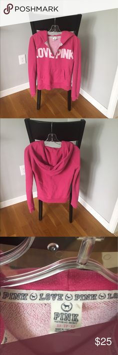 Victoria's Secret PINK hoodie Victoria's Secret PINK brand hoodie. Worn only a few times and cared for carefully so great condition. Size XS. I usually wear small for PINK brand so this could go either way really, XS or S. PINK Victoria's Secret Tops Sweatshirts & Hoodies