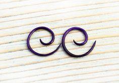 Mini Gauges Purple Dyed Bone Earrings Spiral Gauges 14/12g Expanders - GA002 DBP, $9.00