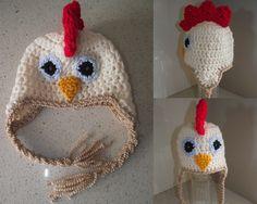 Rooster crochet beanie