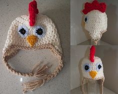 Rooster crochet beanie