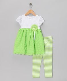 Take a look at this Green Tiered Ruffle Dress & Stripe Leggings - Toddler & Girls by Sweet Heart Rose on #zulily today!