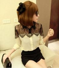 2014 HOT Womens Black Lace Chiffon Blouses Splicing Long Sleeve Tops(China (Mainland))