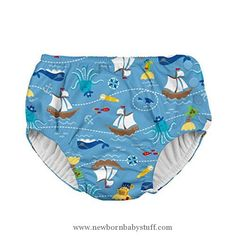 Baby Boy Clothes i play. Baby Boys' Snap Reusable Absorbent Swim Diaper-mm, Light Blue Pirate Ship, 3T