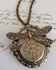 Locket Necklace Art Nouveau Dragonfly by chloesvintagejewelry, $54.00