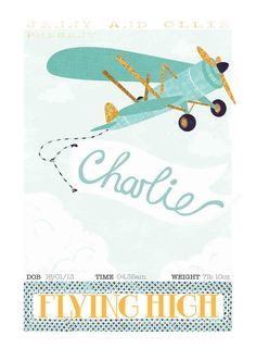 A4 A3 Aeroplane Personalised Children's Art vintage style poster illustration