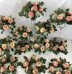 Table Flowers, Dusty Pink, Pink Flowers, Flower Arrangements, Centerpieces, Floral Wreath, Wreaths, Home Decor, Homemade Home Decor