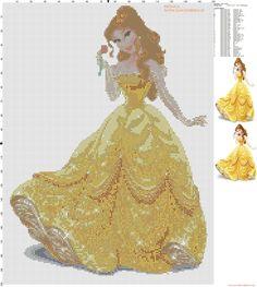 Princesse Belle grille point de croix - 2960x3300 - 5466777