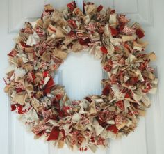 I made one of these in high school by buying a straw wreath and poking in small squares of fabric with a crochet needle. Been meaning to make another one for years! Decorating on a budget!