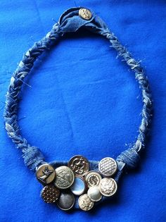 SALE Upcycled Denim Necklace with Antique by simplycreativeliving, $15.00