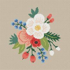 Cross Stitch Flower pattern Modern Floral Nature Hoop art | Etsy