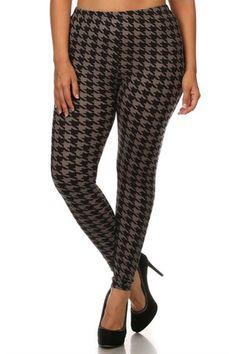 fcdb80f14541f Black Grey Geo Houndstooth Leggings. Plus Size LeggingsCasual TopsPrinted  LeggingsHoundstoothMochaGeoPlus Size FashionFashion AccessoriesFull Figure  Fashion