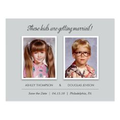 Old Photo Save the Date Postcards - Modern Slate