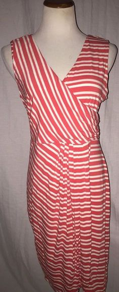 Vince Camuto Orange White Striped Lined Dress Large #Vince #FauxWrap #Casual