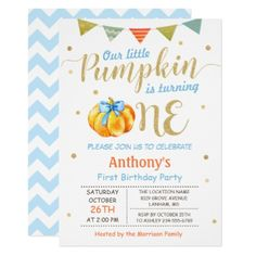 Little Pumpkin Baby Boy First Birthday Party Card - baby birthday sweet gift idea special customize personalize